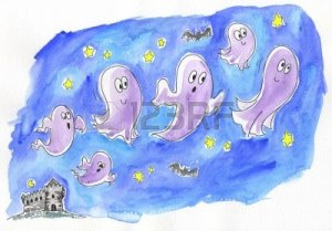 13464469-a-group-of-funny-ghosts-is-going-out-from-an-ancient-castle-watercolored-illustration-for-halloween